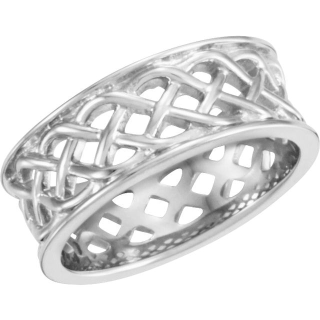 Sterling Silver 8 mm Celtic-Inspired Band Size 7