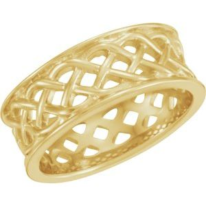 14K Yellow 8 mm Celtic-Inspired Band Size 7