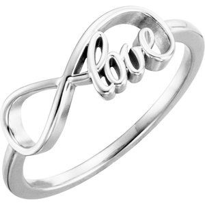 14K White Love Infinity-Inspired Ring