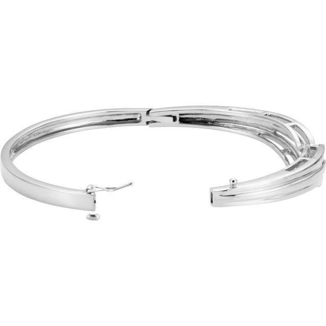 14K White Hinged Bangle Bracelet