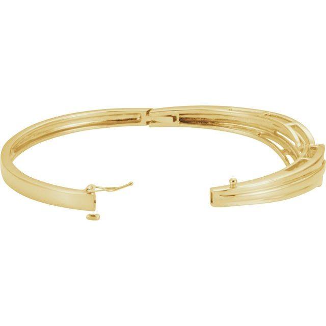 14K Yellow Hinged Bangle Bracelet