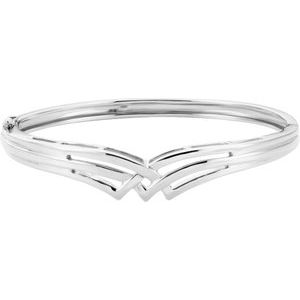 14K White Hinged Bangle Bracelet