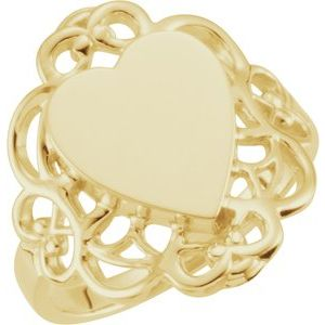 14K Yellow 20x18 mm Heart Signet Ring