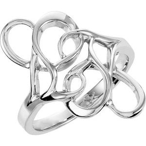 14K White Freeform Ring