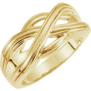 14K Yellow Woven-Design Band