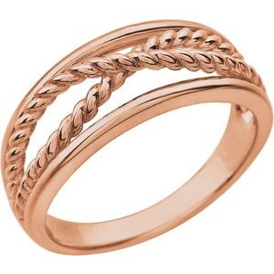 14K Rose Criss-Cross Rope Ring