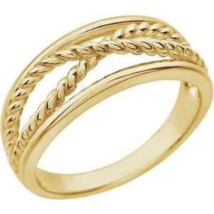 14K Yellow Criss-Cross Rope Ring