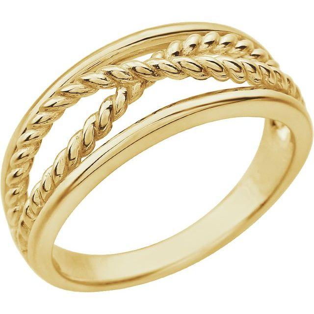 14K Yellow Criss-Cross Rope Ring