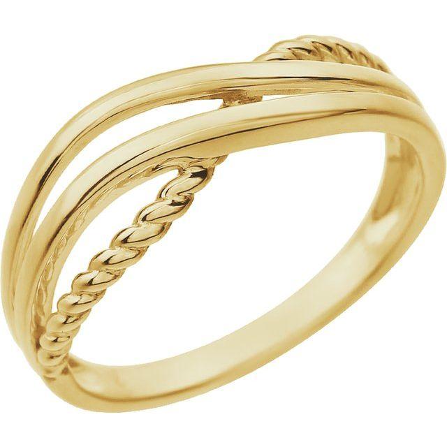 14K Yellow Criss-Cross Ring