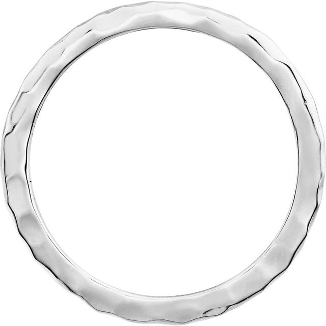 14K White 2 mm Hammered Stackable Ring Size 6