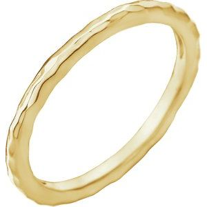 14K Yellow 2 mm Hammered Stackable Ring Size 8