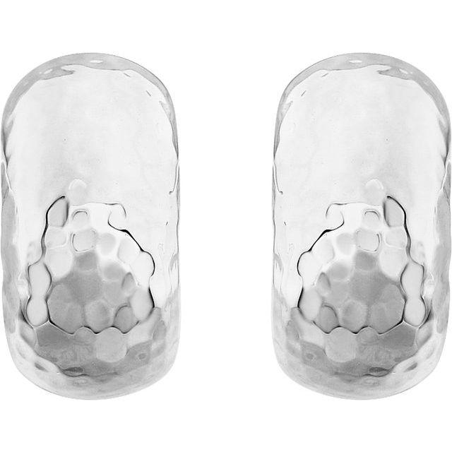 14K White 15.2x7.9 mm Hammered J-Hoop Earrings