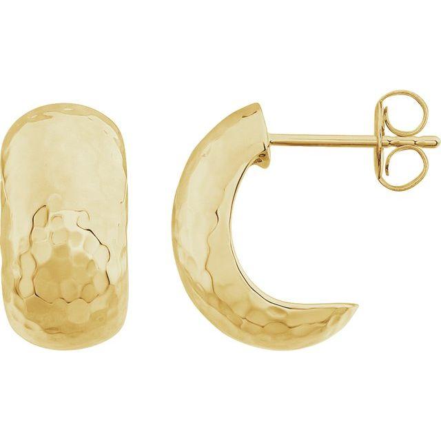 14K Yellow 15.2x7.9 mm Hammered J-Hoop Earrings