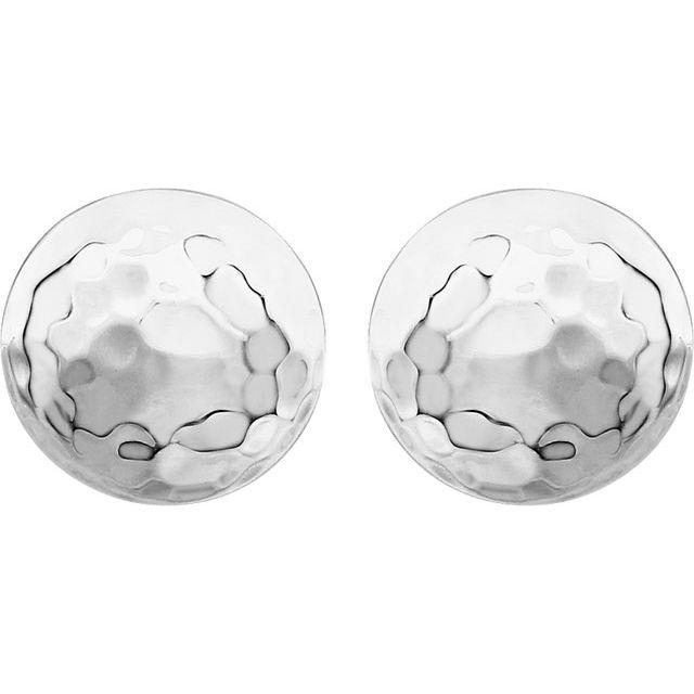 14K White Hammered Disk Earrings