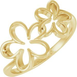 14K Yellow Flower Ring