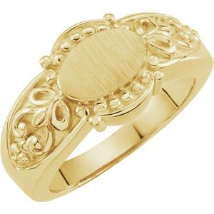 14K Yellow 9x6 mm Signet Ring