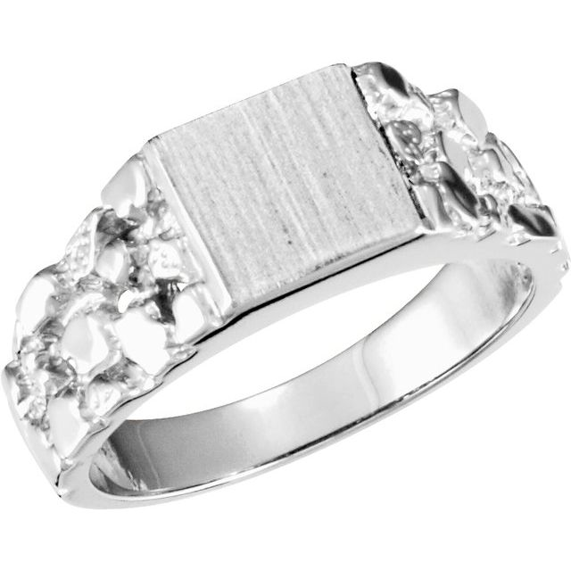 Sterling Silver 9 mm Square Nugget Signet Ring