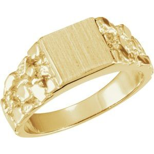 14K Yellow 9 mm Square Nugget Signet Ring