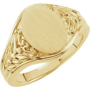 14K Yellow 12.8x9 mm Oval Signet Ring