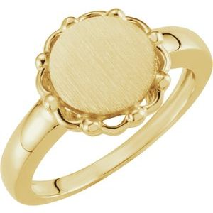 14K Yellow 12 mm Round Signet Ring