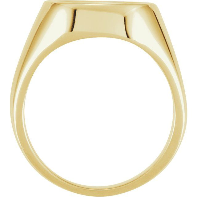 14K Yellow 12 mm Square Signet Ring