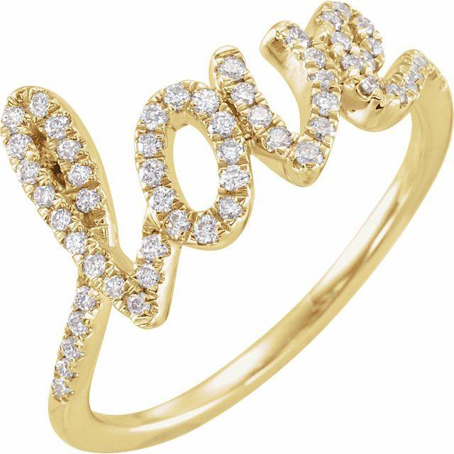 14K Yellow 1/4 CTW Diamond Love Ring