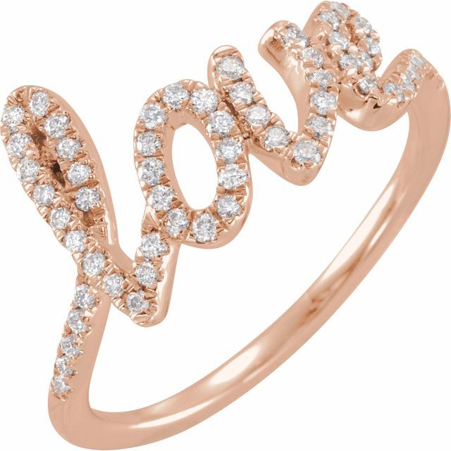 14K Rose 1/4 CTW Diamond Love Ring