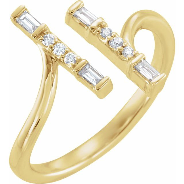 14K Yellow 1/6 CTW Diamond Double Bar Ring