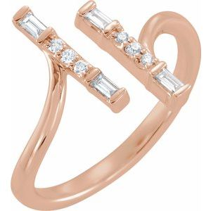 14K Rose 1/6 CTW Diamond Double Bar Ring