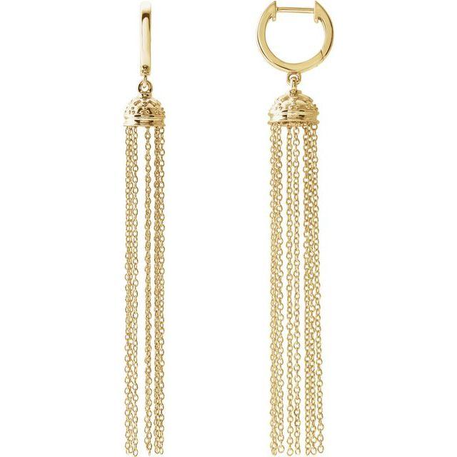 14K Yellow 56 mm Hinged Hoop Chain Earrings