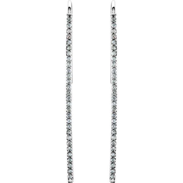 14K White 1/4 CTW Natural Diamond Vertical Bar Earrings