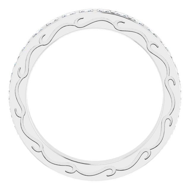 14K White 1 1/2 CTW Diamond Square Eternity Band Size 7