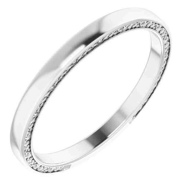 14K White 2 mm Sculptural-Inspired Band Size 7