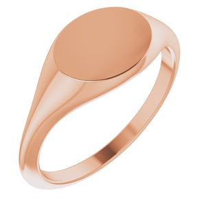 14K Rose 11x9 mm Oval Signet Ring