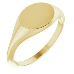 14K Yellow 11x9 mm Oval Signet Ring
