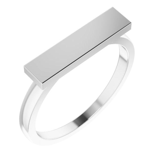 14K White 16x4 mm Rectangle Signet Ring