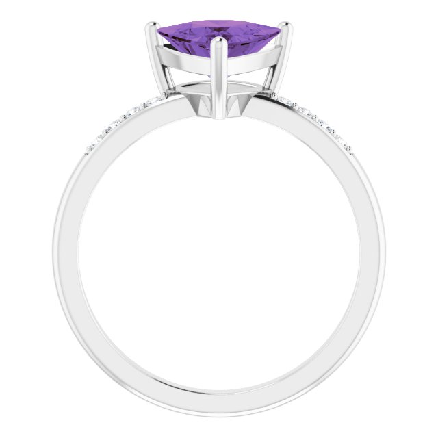 14K White Amethyst & .08 CTW Diamond Ring