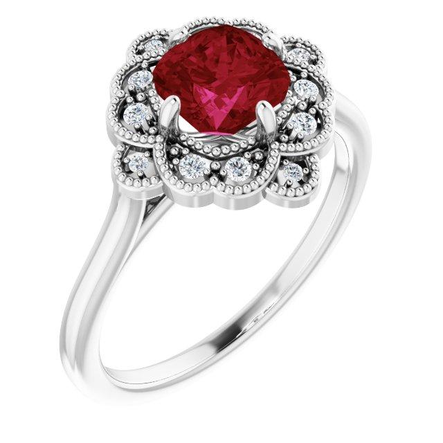 14K White Lab-Grown Ruby & .08 CTW Diamond Ring