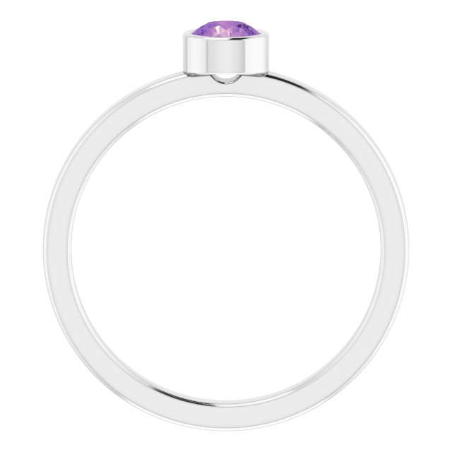Rhodium-Plated Sterling Silver 4 mm Round Imitation Amethyst Ring
