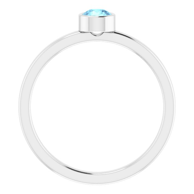 Rhodium-Plated Sterling Silver 4 mm Round Imitation Aquamarine Ring