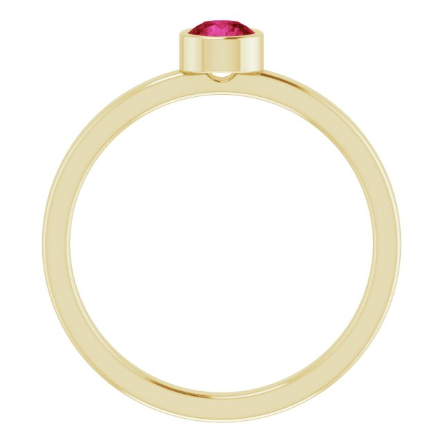 14K Yellow 4 mm Round Ruby Ring