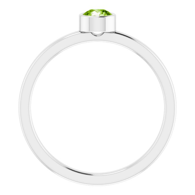 Rhodium-Plated Sterling Silver 4 mm Round Imitation Peridot Ring