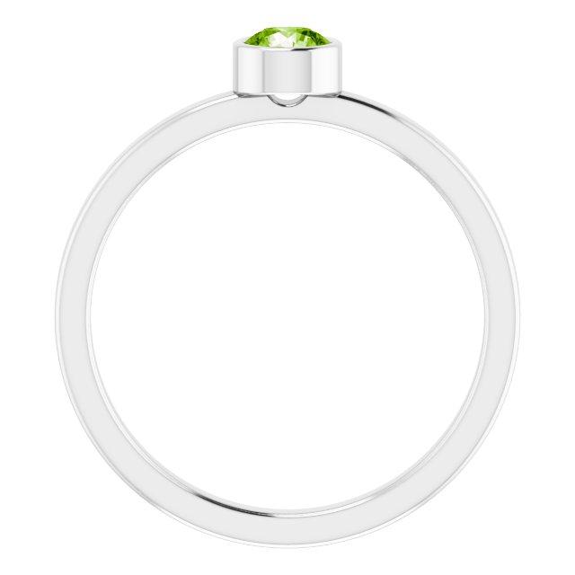 Rhodium-Plated Sterling Silver 4 mm Round Imitation Peridot Ring
