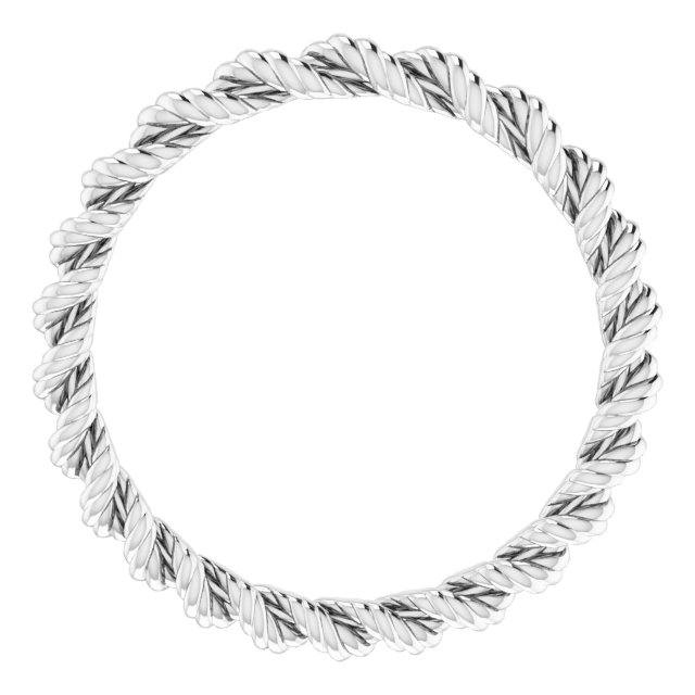 14K White 2 mm Twisted Rope Band Size 7