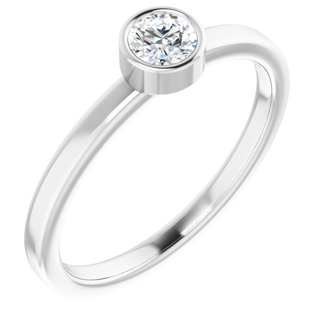 14K White 1/4 CT Diamond Ring