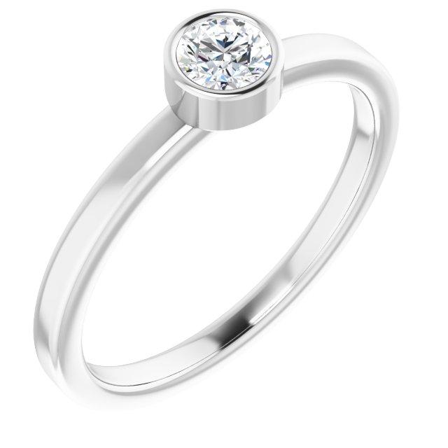 Rhodium-Plated Sterling Silver 4 mm Round Imitation Diamond Ring