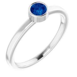 Rhodium-Plated Sterling Silver 4 mm Round Imitation Blue Sapphire Ring