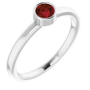 Rhodium-Plated Sterling Silver 4 mm Round Imitation Mozambique Garnet Ring