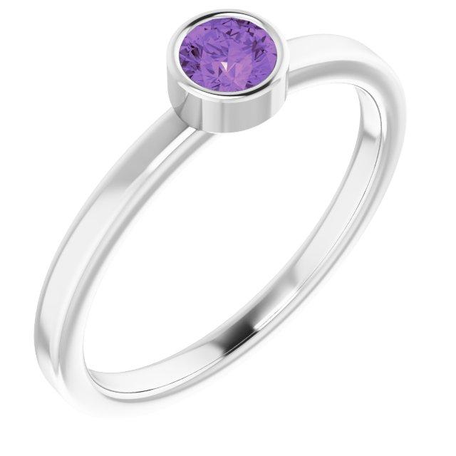 Sterling Silver Imitation Amethyst Ring