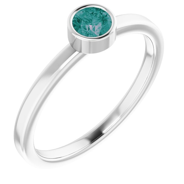 Rhodium-Plated Sterling Silver 4 mm Round Imitation Alexandrite Ring